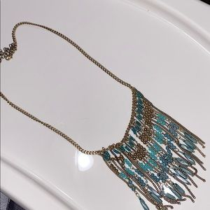 Turquoise and Gold Dangly Beaded Necklace